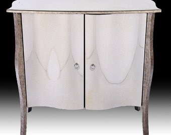 Credenza, Mirror console, china cabinet, sideboard. Venetian style serpentine front mirrored