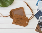 Brown Leather Personalized Quote Luggage Tag, Travel Gift, Graduation Gift, Travel Accessory, Leather Gift