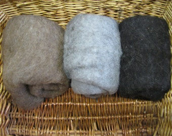 Shetland Wool Batts Pack Natural Colours 150g/5.29oz Wet/Needle Felting/Core Wool/Spinning SB15