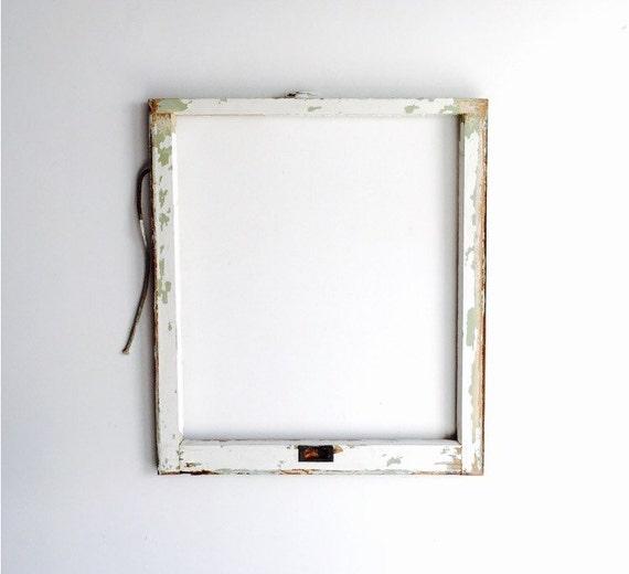No Glass Vintage 1 Pane Window Frame 28 X 32 White Rustic