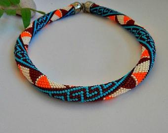 Beaded crochet necklace crochet chain hose - Sirtaki-bead rope necklace