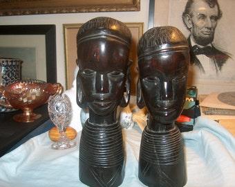 2 Vintage Wood Tribal Art Sculptures,  Figurines, Man & Women, Heavy Wood, Ebony?  (Price for Both)
