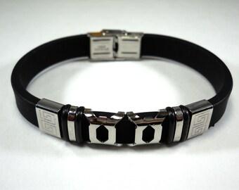 "Black Silicone and 304 Stainless Steel  8 1/2"" Men's Bracelet, Gift for Men, Fashion Bracelet, Men's Jewelry"