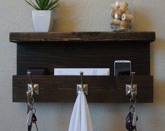 Modern Rustic Entryway Organizer Shelf with Satin Nickel Coat Hat Hooks