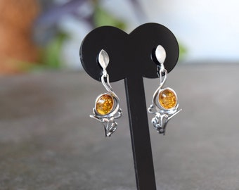 925  silver earrings with amber