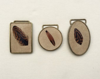 Suede and Feather Belt Buckle- Various Colors