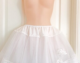 Handcrafted 16 Inches 3 Layers White Princess Embroidery Lolita Petticoat