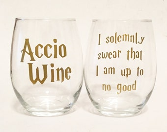 Set of 2 - Accio Wine & I Solemnly Swear That I Am Up To No Good Harry Potter Inspired Stemless Wine Glass - Gold