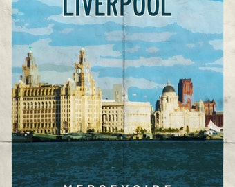 Liverpool Retro Travel Poster Greeting Card