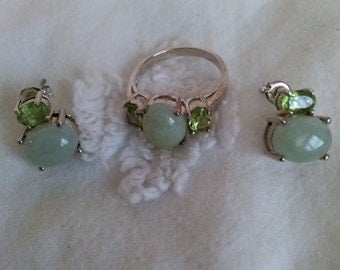 Jade and peridot sterling silver ring and earring set