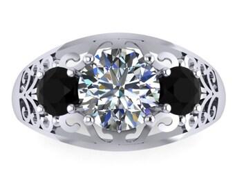 Black Diamond & Forever One Moissanite Engagement Ring Edwardian Ring 14K White Gold Engagement Vintage Filigree Design Ring - V1144