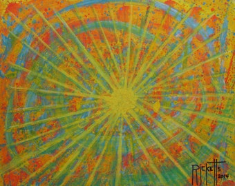 COLOR EXPLOSION 2 - Original Acrylic Painting Framed 22.5x18.5 No. 471