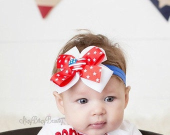 Fourth of July heart headband hair clip red white and blue patriotic