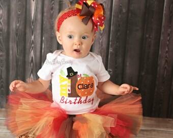 Girls First birthday fall Thanksgiving outfit TUTU skirt headband set red brown orange pumpkin