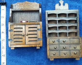 Wooden Dollhouse Furniture Two Wood Hutches 6inch Doll House Cupboards Drawers Shelves
