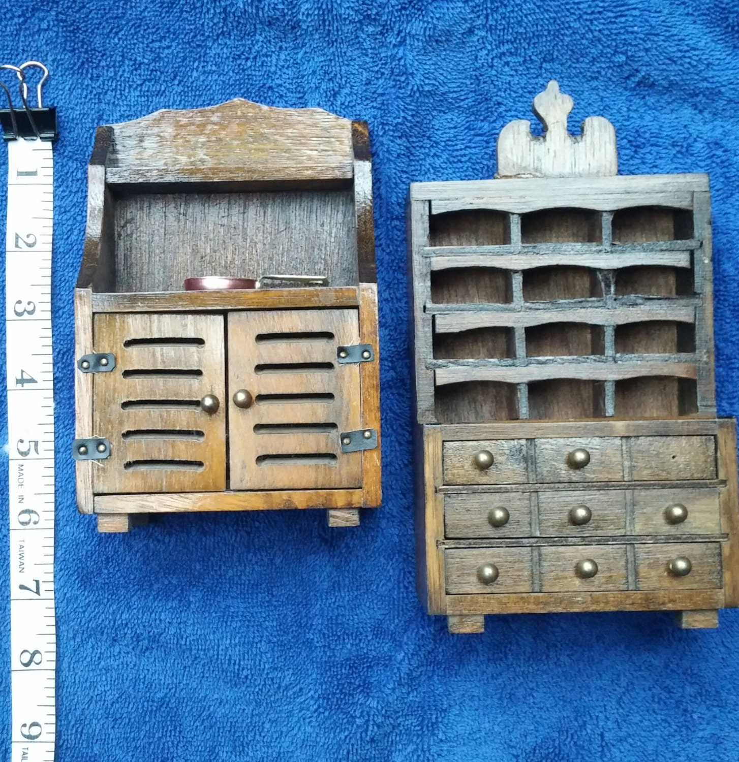 Wooden Dollhouse Furniture Two Wood Hutches Doll House