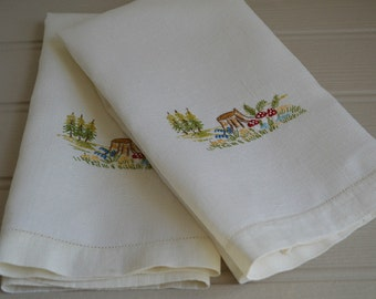 Pair of Vintage Irish Linen Hand Embroidered Guest Towels