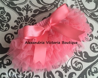 CORAL BLOOMER with BOW, chiffon ruffle diaper cover, photo prop, newborn ruffle bloomer-ready to ship!