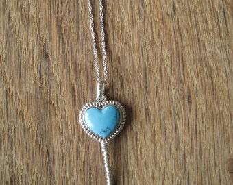 Sterling Silver Blue Turquoise Skeleton Key Heart Pendant Necklace (77)