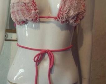 Pink fur bikini top