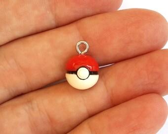 Cell Phone Pokeball Charm, Polymer clay Pokemon Ball
