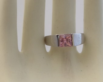 Thick Silver Band Ring with Square Rose Quartz Stone