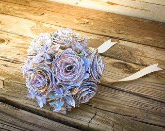 Map Paper Mixed Flower Bouquet, Travel Bridal Bouquet, Dallas Handmade Paper Bouquet, Custom Wedding Bouquet, Rose and Kusudama Bouquet