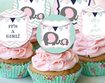 elephant baby shower cupcake toppers, baby shower party cupcakes, pink and mint navy toppers, elephant baby shower theme, baby elephant