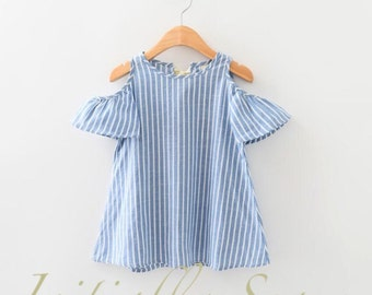 Girl's Striped Cotton Off-Shoulder Top