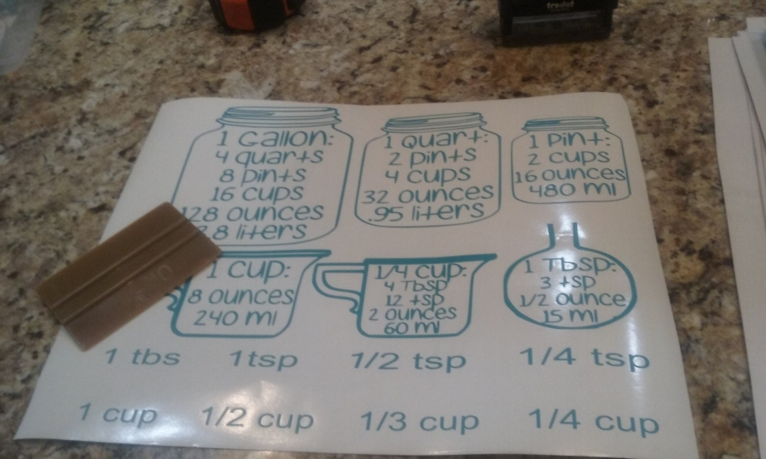 Kitchen Conversion Chart Baking Decals Conversion Chart