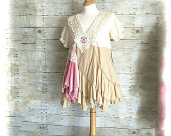 Pink Sunshine Shabby Couture funky Ruffled lace altered country ruffled rustic Boho altered Knit tunic mori top