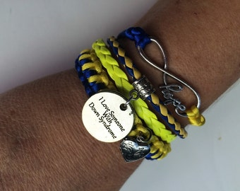 Down Syndrome 4 in one hope infinity ,heart locket macrame para cord bracelet ! Down Syndrome bracelet !