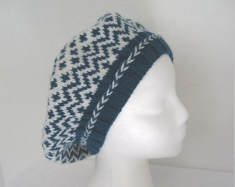 Hand Knit Beret, blue and white, blue merino hat, knit blue tam, large hat for woman, knit blue hat, braided trim, knit in pattern, seamless