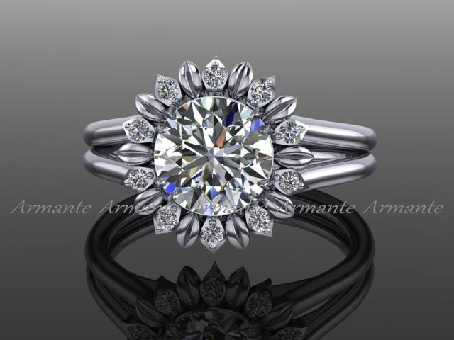 Sunflower Moissanite Ring 14k White Gold Diamond Floral