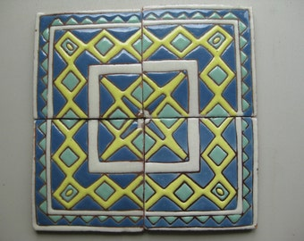 20-Heritage Outside Corner Blue/Yellow/Turqoise Mexican Clay Tile (Shipping Included)