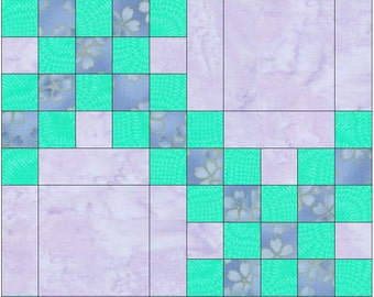 Double Irish Chain 15 Inch Block Paper Template Quilting Block Pattern PDF