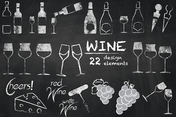 Wine cliparts chalkboard wine clip art wedding elements for Wine chalkboard art