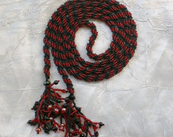 Beaded Red and black  long lariat rope necklace , seed bead necklace , long necklace