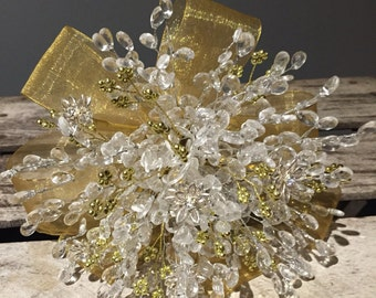 Silver, gold and clear crystal bridesmaids bouquet - winter wedding - flowergirl - brooch bouquet alternative.