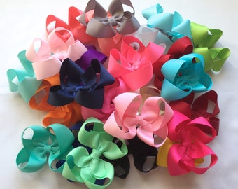 Hair Bows- Set of 25 - 3 inch Boutique Bows- You choose the colors, 25 colors to choose from