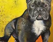 "Custom Pet Portrait Oil Painting 30"" X 24"" - Includes Internal Frame, Painted Edges"