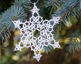 White Tatted Snowflake Christmas Tree Decoration Camille