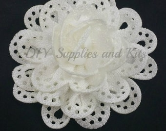3 inch White cut out fabric flower - Large flowers for headband or hair clip diy - Wholesale craft flowers for wedding - Flower heads