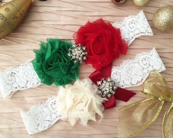 Wedding Garter, Ivory Garter, Green and Red Flower Garter, Bridal garter Set, Ivory Lace Garter, Christmas Garter Set