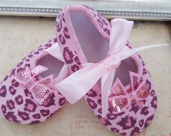 Animal Print Crib Shoes, Pink Leopard Print Baby Shoes,  Baby Crib Shoes, Gray Baby Shoes, Baby Crib Shoes