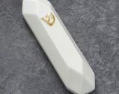 "Mezuzah case, Octagon Modern geometric Judaica For  2.7"" (7cm) scroll, White ceramic with gold 'ש', Jewish wedding gift,Made in Israel"