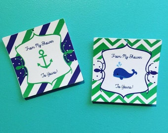 Nautical Baby Shower Favor Tags, Thank You Tags
