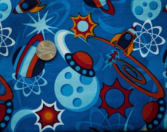 Cotton Fabric with Colorful Rocket and Planet Design