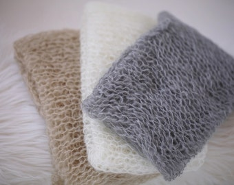 So Soft ! Photography Starter Set of 3 Mohair Wraps for newborn baby knit photo prop **Ivory Grey Oatmeal**  Natural Shades