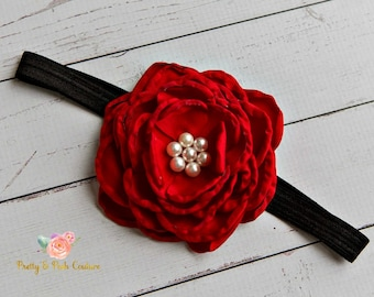 Red Baby Headband,newborn headband,Baby Headbands, Christmas headband,flower headband, Baby hair bows, Big bow headband,Flower girl headband